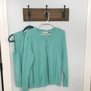 Calvin Klein Sweater set. Lightweight. Aqua.